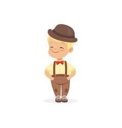 Cute little boy in bowler hat young gentleman vector