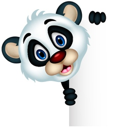 cute panda cartoon posing with blank sign vector image