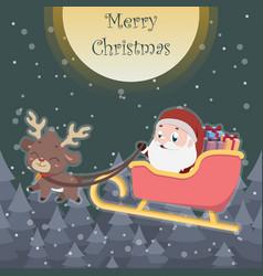 Cute reindeer pulling sleigh with santa vector