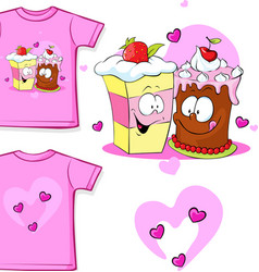 Cute shirt with funny cake vector