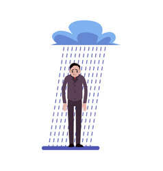 depressed businessman standing in rain under a vector image