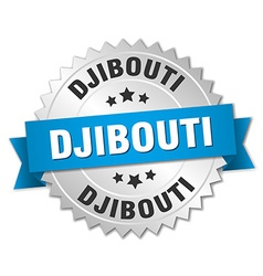 Djibouti round silver badge with blue ribbon vector