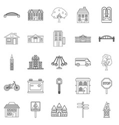 Eco city icons set outline style vector