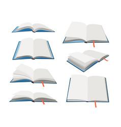 empty open books set vector image