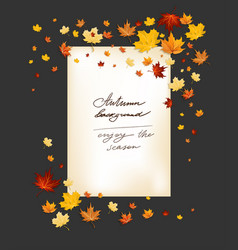 fall leaves frame on dark background vector image