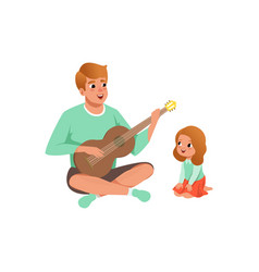 Father playing guitar music to his daughter vector