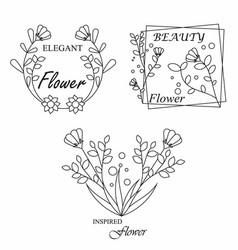 Feminine flower logo bundle branding template vector