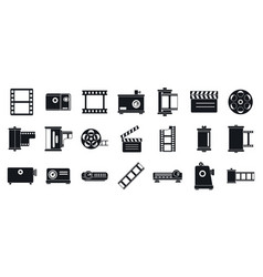 filmstrip camera icons set simple style vector image