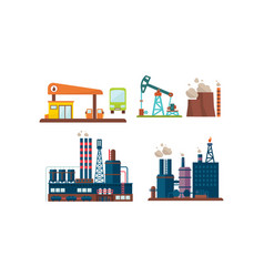 flat set of oil industry icons gas station vector image