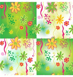 Four Floral backgrounds vector