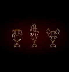 golden polygonal winner cups set vector image