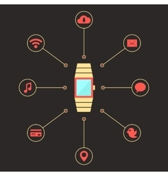 golden smart watches with social media icons vector image