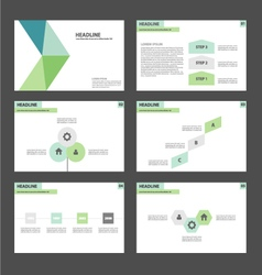 Green blue presentation templates Infographic set vector image