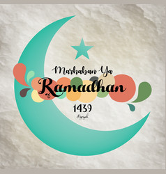 Green crescent moon eid mubarak blessed eid card vector