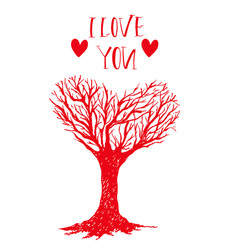 hand drawn happy valentine tree vector image