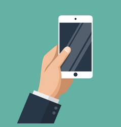 hand of businessman holding white smartphone vector image