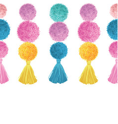 Happy colorful birthday party pom poms and vector