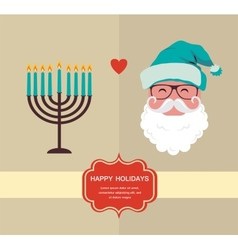 Happy holidays jewish holiday menorah and Xmas vector