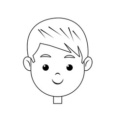 head face boy smiling character line vector image