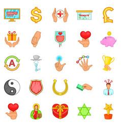 Help icons set cartoon style vector