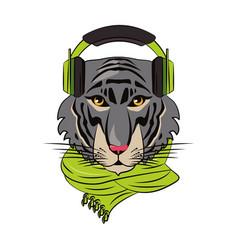 hipster tiger cool sketch vector image