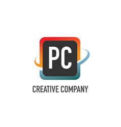 initial letter pc swoosh creative design logo vector image