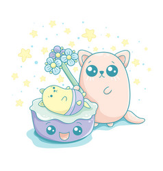 Kawaii of a cute mum cat holding a toy in her paw vector