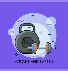 kettlebell and dumbbell thin line concept vector image