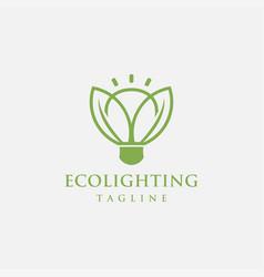 Leaf and lighting bulb logo creative eco nature vector