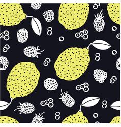lemons blueberry blackberries seamless pattern vector image