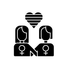 Lesbian relationship logo black glyph icon vector