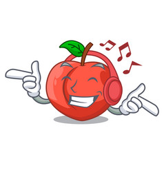 Listening music cartoon fresh sweet nectarines in vector
