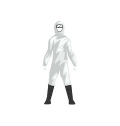 Man in white protective suit professional safety vector
