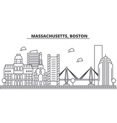 Massachusetts boston architecture line skyline vector