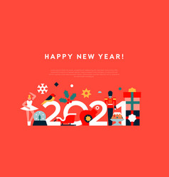 New year 2021 flat geometric holiday template vector