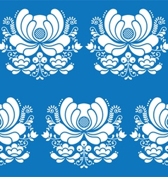 Norwegian folk art seamless white pattern on blue vector image