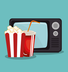Old tv with cinema icons vector