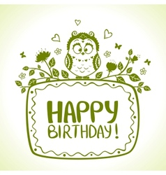 Owl birthday vector
