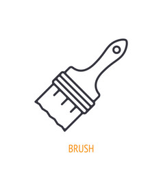 paint brush outline icon hand work tools vector image