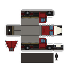 paper model of an old truck vector image