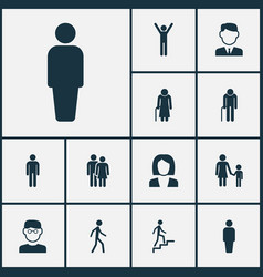 people icons set collection of family gentleman vector image vector image