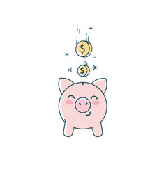 Piggy bank icon saving concept linear flat vector