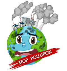 Poster design for stop pollution with world crying vector