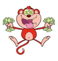 red monkey cartoon character jumping vector image