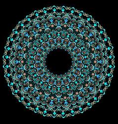 Round turquoise ethnic ornament vector