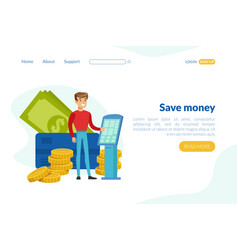 save money landing page template investment vector image
