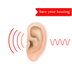 save your hearing concept background realistic vector image