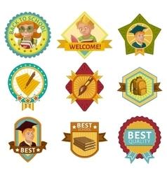 School Colored Badges Set vector