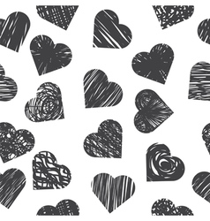 Seamless pattern with grey hearts on white vector image