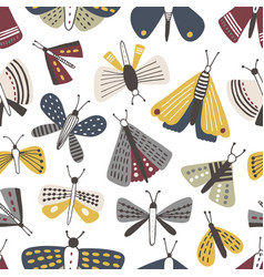 Seamless pattern with moths on white background vector